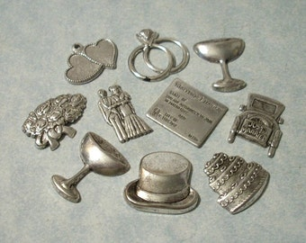 10pc Wedding Invitation Embellishments, Wedding Charms, Wedding Stampings, Scrapbooking Charms, Greeting Card Embellishments