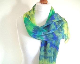 Pure Silk Long Scarf, Hand-dyed Scarf, Silk Crepe de Chine, Shibori Silk Scarf, Blue Green Silk Scarf, OOAK Scarf, UK Seller