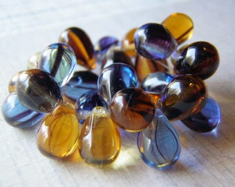Amber and Blue Denim Teardrop Beads Top Drilled 10 Beads