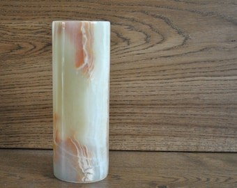 Vintage onyx cylinder vase - Natural stone