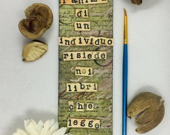 Hand-made bookmark with pink paper flower