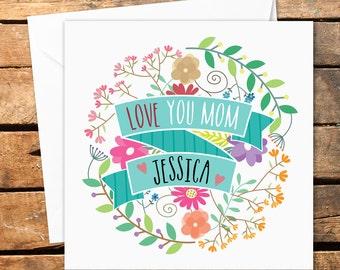 Personalised Handmade Happy Mothers Day Birthday Card Mum Mom Mommy Mummy Mother Grandma Nanny Flowers Love Flower Message