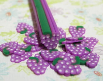 Grapes polymer clay cane fruit 1pc uncut DIY for decoden kawaii crafts and nail art supplies