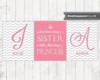 Pink and Gray Girls Wall Art Prints or Canvas Chevron Bedroom Art Sister Princess Quote Sister Names Chevron  Quote Twin Girl Bedroom Decor
