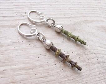 Green Sea Urchin Spine Earrings