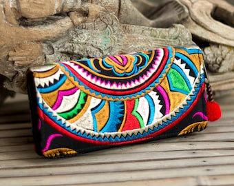 Beautiful Fair Trade Boho Wallet, Women Purse with Hmong Hill Tribe Embroidered, Pom Pom Zip Pull - WA301SNBLA