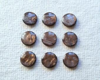 """Les boutons marbré brun Vintage - Shanks auto - 15/16""""- ensemble de 9 05/18"""