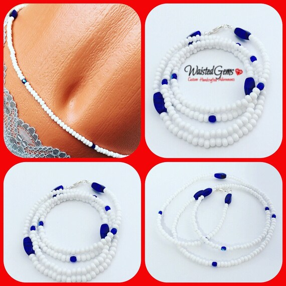 White and Blue Waist Beads, Belly Chain, Body Beads, Bikini, African Waist Beads, Boho Jewelry, waist beads zmw4434.3