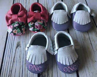 Baby Moccasins, Crib Shoes, leather baby moccasins, Monogram available