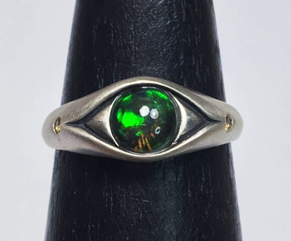 Sterling Silver, Black Opal and Yellow Sapphire Eye Ring