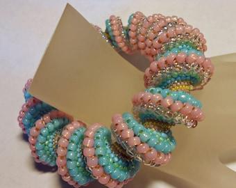 Cotton Candy Swirl Cellini Beadwoven Bracelet Bangle