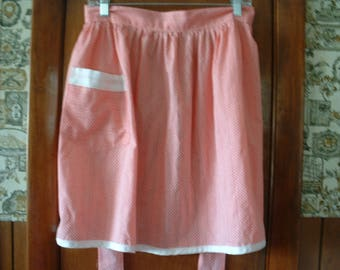 Pink and White Polka dot Vintage Apron