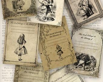 Alice in Wonderland Bookplates ATC 2.5 x 3.5 inch instant download digital collage sheet VD0706