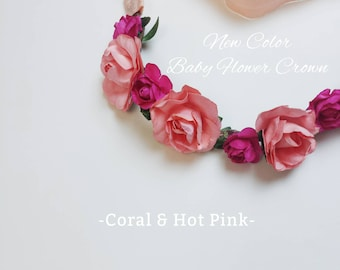 Baby Toddler mommy and me coral, peach, hot pink color floral Headband for spring, summer, flower crown