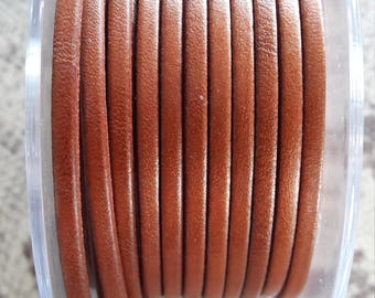 flat 3 mm Brown high quality European leather strap