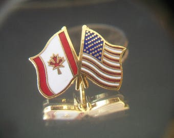 Canadian Flag American Flag Lapel Pin Tie Tack Patriotic Accessories Maple Leaf