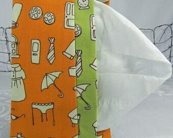 Pocket Tissue Holder for Purse, Backpack, Travel Orange & Green