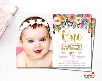 Floral 1st Birthday Invitation, Girl First Birthday Invitation, Floral Birthday Invitation, Personalized Printable Invitation, A15