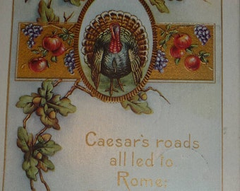 Oak Leaves, Acorns, Apples and Turkey Antique Whitney Made Thanksgiving Postcard