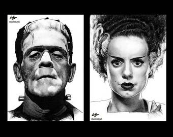 "Prints 11x17"" - The Monster and Bride - Frankenstein Dark Art Skull Skeleton Horror Halloween Classic Monsters Gothic Dracula Macabre Zombie"