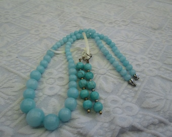 NECKLACE & EARRINGS... Aquamarine... 19 inches