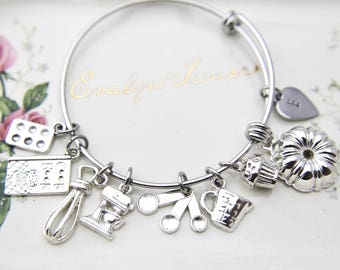Baker Gift Kitchen Mixer Bake Pan Measuring Cup Cookbook Cupcake Bundt Pan Charm Baker Jewelry Bracelet Personalized Bracelet Initial Charm
