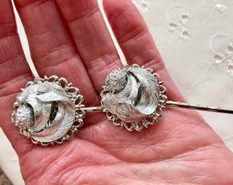 Vintage Silver Leaves Hair Pins Bobby Pins Bridesmaid Wedding Prom Art Deco Doodaba