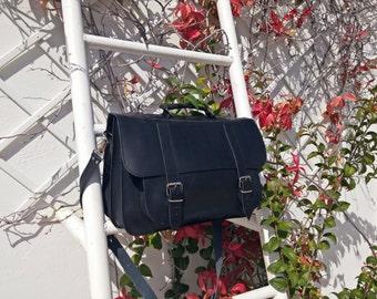 Black Professional Bag - Leather Messenger Bag - Full Grain Leather Briefcase - 15 inch Laptop Bag. 4 COLORS AVAILABLE!