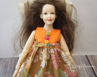1:12 scale doll house miniature women's orange dress for Heidi doll by Jing's Creations