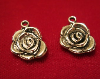 "10pc ""rose"" charms in antique style silver (BC352)"