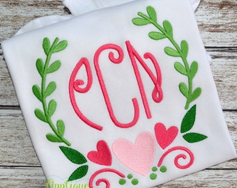 Machine Embroidery Design Embroidery Laurel Wreath Heart INSTANT DOWNLOAD