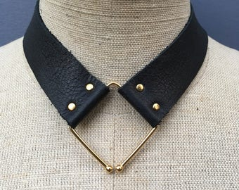 Ankh By Racquel Converge limited edition leather and metal collar necklace