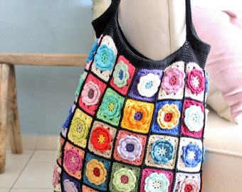 Crochet bag, crochet handmade bag, tote bag, colorful shoulder bag, colorful bag, knitted handbag, Flower bag, wearable art bag,gift for her