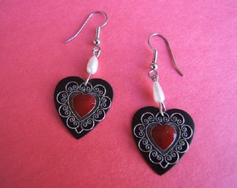 On Sale! Free Shipping*! Heart Earring, Heart Jewelry, Latest Fashion, Boho, Accessories, Silver, Red, Black, #80235-1, FREE SHIPPING*
