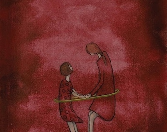 """Mom and daughter wall art. Giclee print. large wall art. cranberry red nursery art. """"Hula in Dresses - Mae and Bebe"""""""