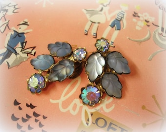 vintage blue rhinestone earrings mid century clip on earrings matte blue leaves + blue ab rhinestones