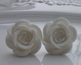 Large White Rose Earrings