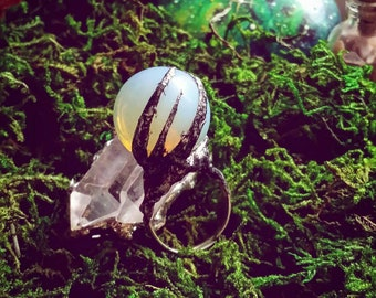 Crystal ball ring, Oracle ring, fortune teller ring, opal crystal ring, gypsy ring, silver crystal ball