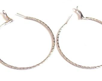 2.25 inch Hoop Earrings Silver tone Hoop Earrings Classic Thin Ripple Hoop Earrings