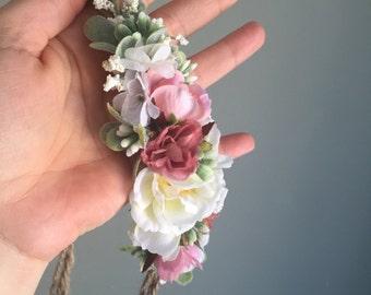 Tieback Flower Crown Headband, Newborn Photo Prop, Baby Tieback Flower Crown, Baby Flower Crown, Valentine's Crown, Girls Flower Crown