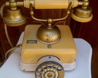 Cottage Chic Victorian - French Antique Rotary Dial Telephone - Shabby Chic Accent - Yellow Creamy White - Photo Prop - Communication - Talk