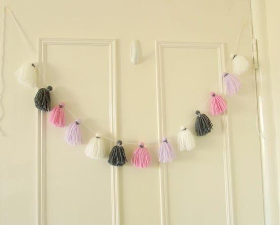 Tassel bunting, Yarn tassel wall hanging, Wool tassel banner, Blind pull garland, Yarn tassel garland, UK Seller