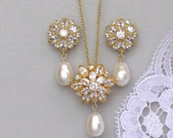 Gold Crystal Jewelry Set, Gold Bridal Set, Gold Necklace & Earings Set, 18K Gold Set, JENNA G
