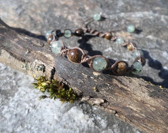 """Bracelet """"taken acceptance and letting go"""" pearls of bronzite and phrenite"""