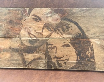 Personalised portrait on wood-burned gift