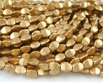 Czech Beads, Czech Glass Pinch Beads - Matte Gold Metallic (P/SM-K0171) - 5mm Pinch Beads - Qty. 50
