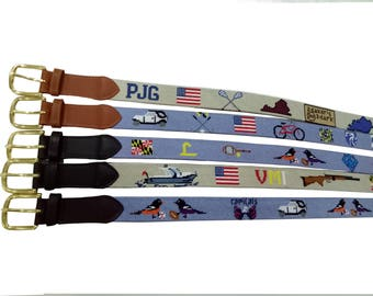 custom needlepoint belt, rush orders considered for additional fee (if time is available to get it done)...