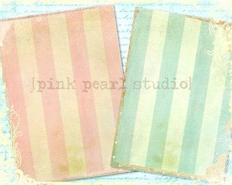 """Candy Cabana Pink and Blue Stripe Grungy Background Digital Prints in 2 - 5x7"""" Format Altered Art, ATC, Scrapbooking"""