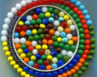 Vintage Japanese 6mm Round Glass Beads, many colors, 6mm, GB6