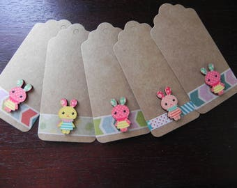 Kids COLLECTION: 5 labels 9 x 4 cm decorated with bunnies